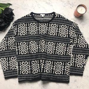 J.Jill Black White Pattern Long Sleeve Sweater